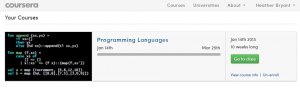 The Coursera dashboard