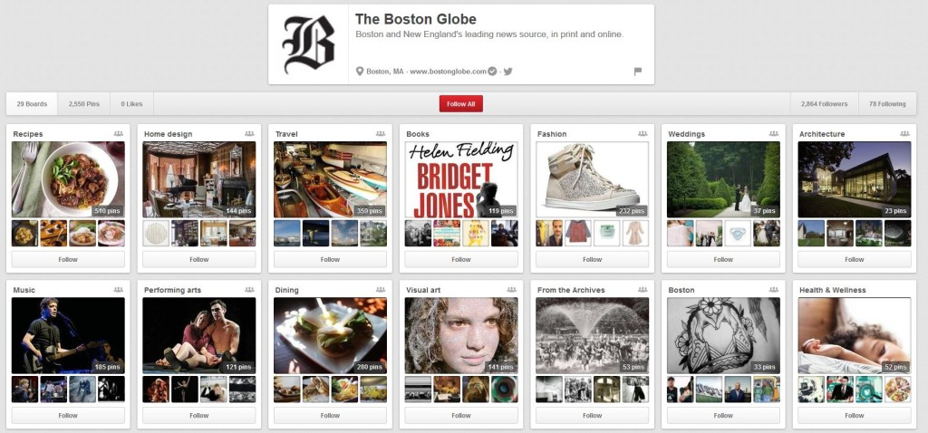 The Boston Globe does a great job of using boards to showcase the variety of their coverage.